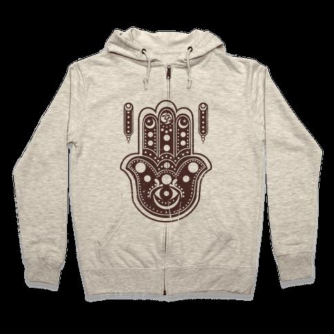 Namaste Hamsa Hand Zip Hoodie