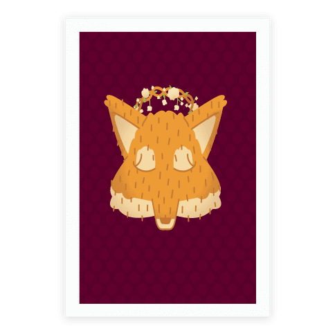 Flower Crown Fox Face Poster