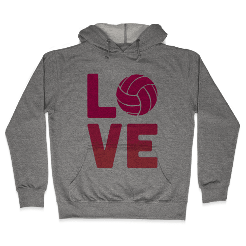 Love Volleyball (V-Neck) Hooded Sweatshirt