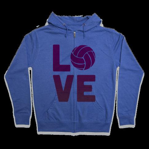 Love Volleyball (V-Neck) Zip Hoodie