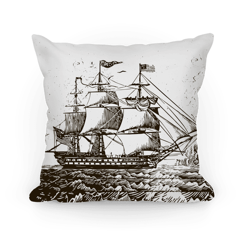 Vintage Ship (Gray) Pillow