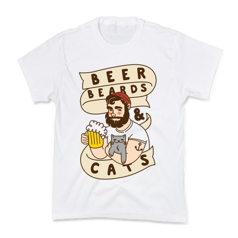 Beer, Beards and Cats Kids T-Shirt