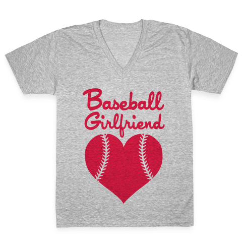 Baseball Girlfriend V-Neck Tee Shirt