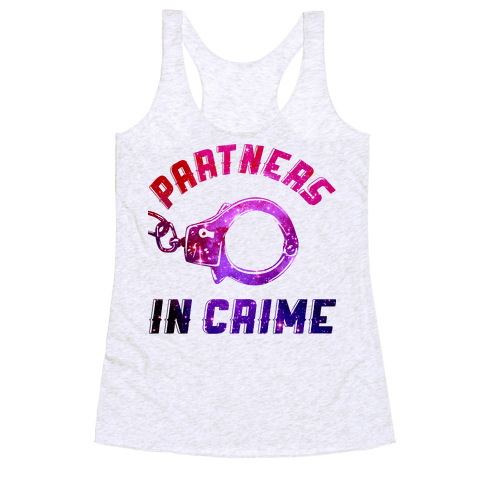 Partners in Crime A (Hoodie) Racerback Tank Top