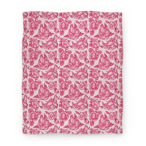 Floral Penis Pattern Pink Blanket