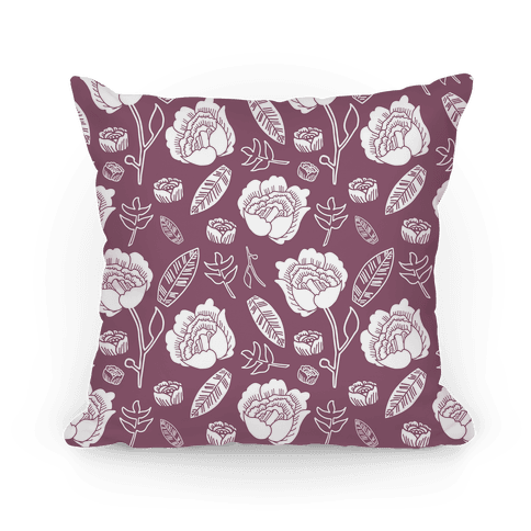 Floral and Leaves Pattern (Purple) Pillow