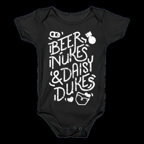 Beer Nukes And Daisy Dukes Baby Onesy