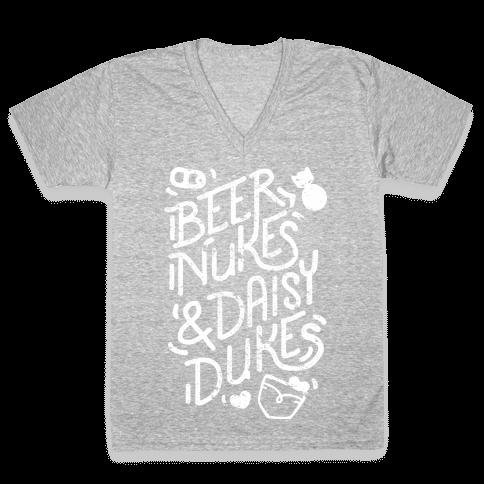 Beer Nukes And Daisy Dukes V-Neck Tee Shirt