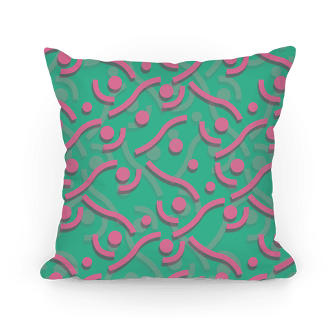 Teal And Pink 90's Pattern Pillow