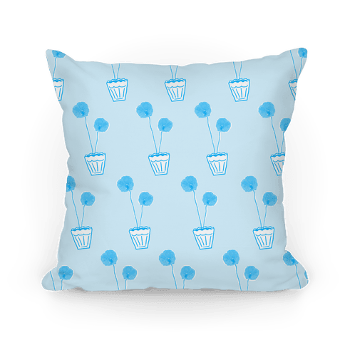 Blue Poppy Pattern Pillow