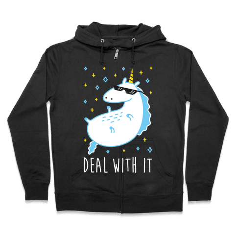 Deal With It Unicorn Zip Hoodie