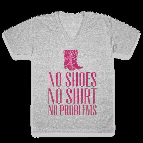 No Shoes No Shirt No Problems V-Neck Tee Shirt