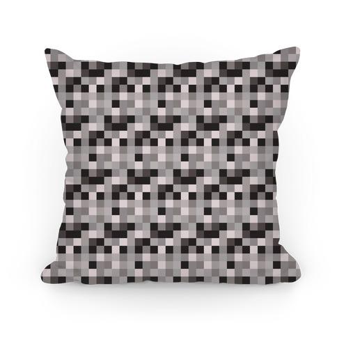 Black and White Gamer Pixel Pattern Pillow
