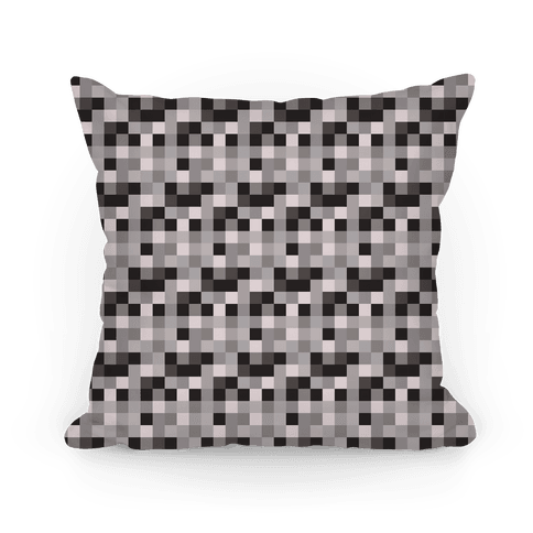 Black and White Gamer Pixel Pattern Pillow