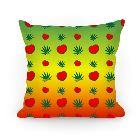 Weed and Hearts Rasta Ombre Pattern Pillow