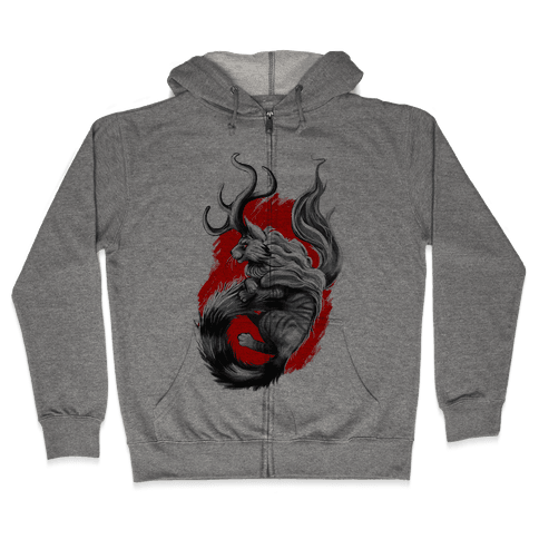 Catalope and Red Zip Hoodie