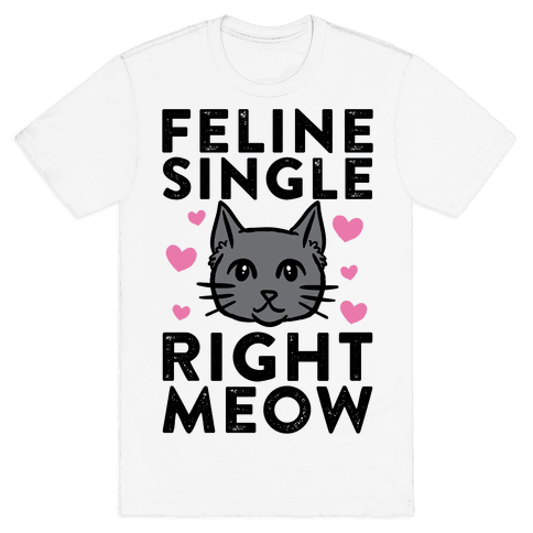 Feline Single Right Meow Mens T-Shirt