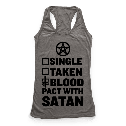 Blood Pact With Satan Racerback Tank Top