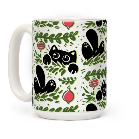 Cat In Christmas Tree Pattern Coffee Mug