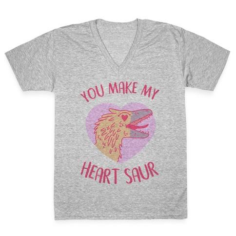 You Make My Heart Saur V-Neck Tee Shirt