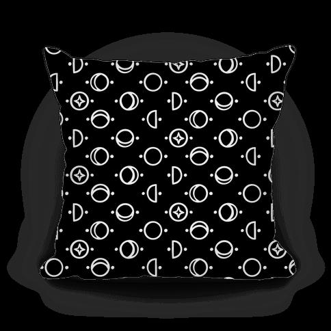 Moon Glyphs Pattern Pillow