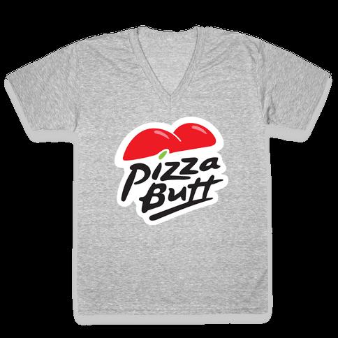 Pizza Butt Parody V-Neck Tee Shirt