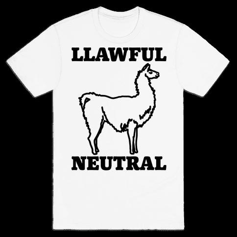 Llawful Neutral Llama Parody Mens T-Shirt