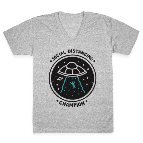 Social Distancing Champion UFO V-Neck Tee Shirt