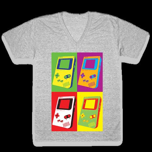Gameboy Pop Art Pattern V-Neck Tee Shirt