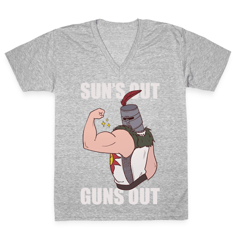 Sun's Out, Guns Out - Solaire  V-Neck Tee Shirt