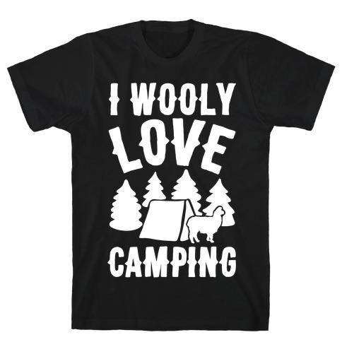I Wooly Love Camping Alpaca Camping Parody White Print T-Shirt
