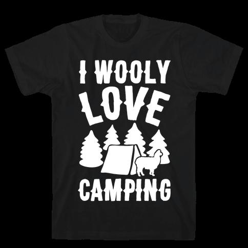 I Wooly Love Camping Alpaca Camping Parody White Print Mens T-Shirt