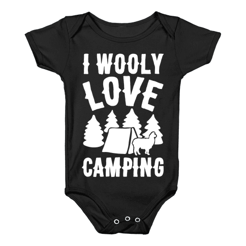 I Wooly Love Camping Alpaca Camping Parody White Print Baby Onesy
