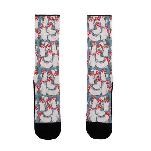 Mushroom Cats Pattern Sock