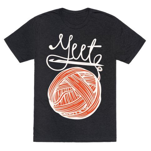 Yeet Yarn Knitting Parody White Print T-Shirt