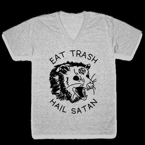 Eat Trash Hail Satan Possum V-Neck Tee Shirt
