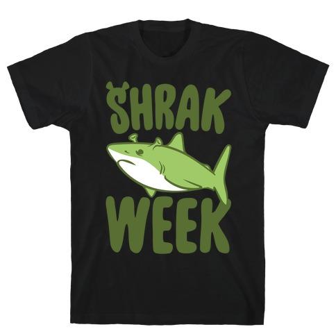 Shrak Week Shrek Shark Week Parody White Print T-Shirt