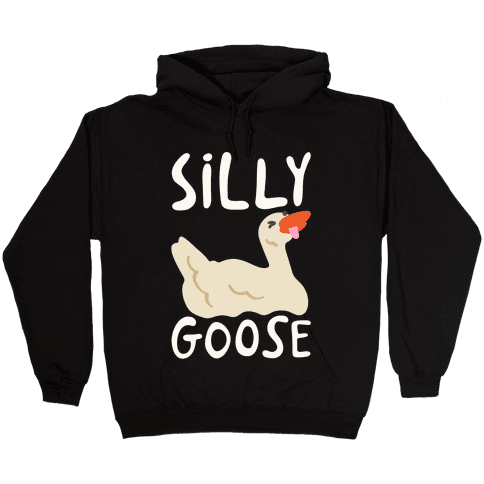 Silly Goose White Print Hooded Sweatshirt