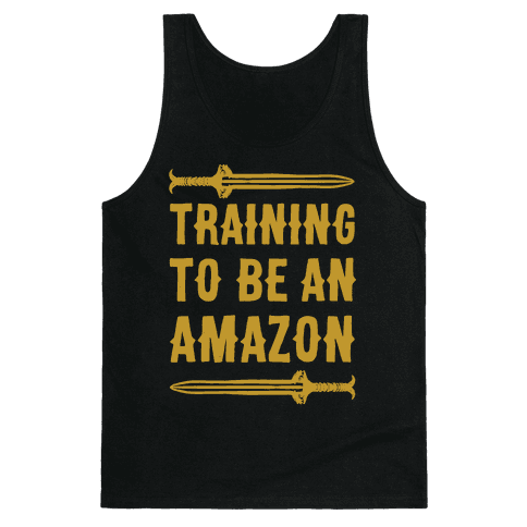 Training To Be An Amazon Parody White Print Tank Top