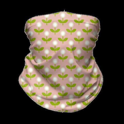 Dainty Retro Dandelions Pink Pattern Neck Gaiter
