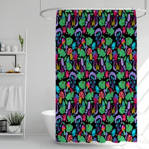 Magical Mushroom Frogs Pattern Shower Curtain
