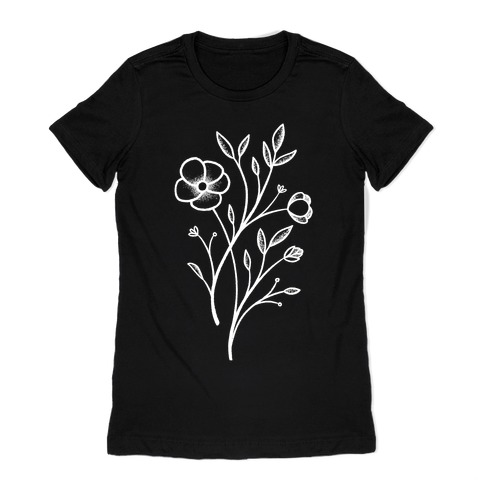 Wildflower Stippled Tattoo Womens T-Shirt