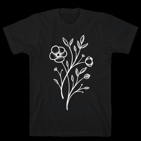 Wildflower Stippled Tattoo Mens/Unisex T-Shirt