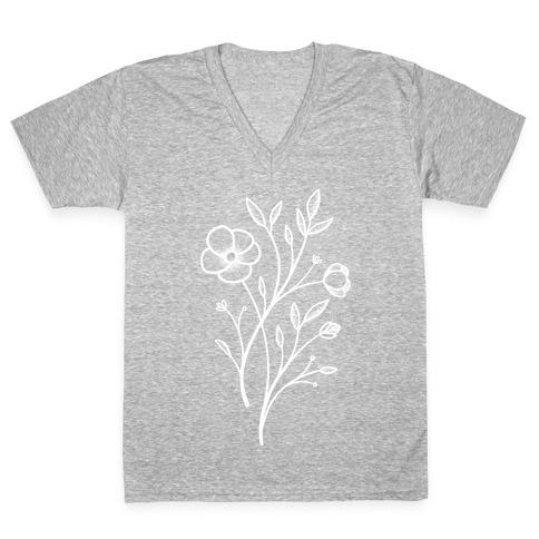 Wildflower Stippled Tattoo V-Neck Tee Shirt