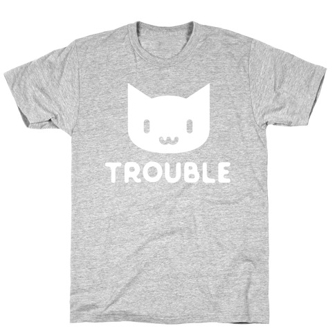 Trouble Cat White Mens T-Shirt