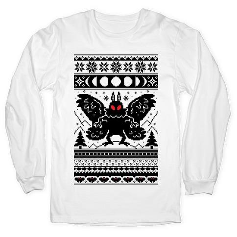Mothman Ugly Sweater Pattern Long Sleeve T-Shirt