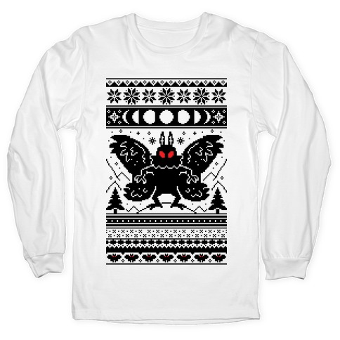Mothman Ugly Sweater Pattern Long Sleeve T-Shirt