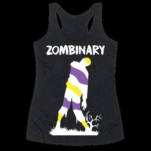 Zombinary Nonbinary Zombie Racerback Tank Top