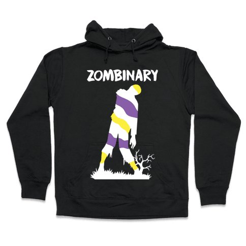 Zombinary Nonbinary Zombie Hooded Sweatshirt