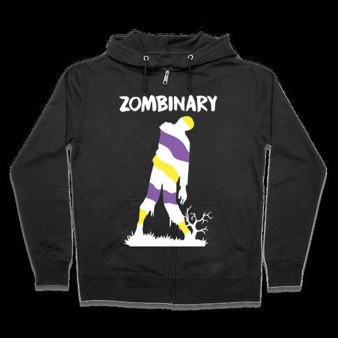 Zombinary Nonbinary Zombie Zip Hoodie